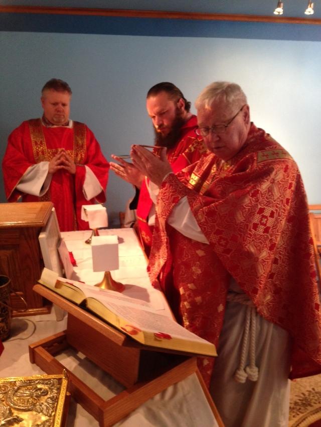 Fr. Joseph Gleason concelebrates with Fr. Michael Keiser
